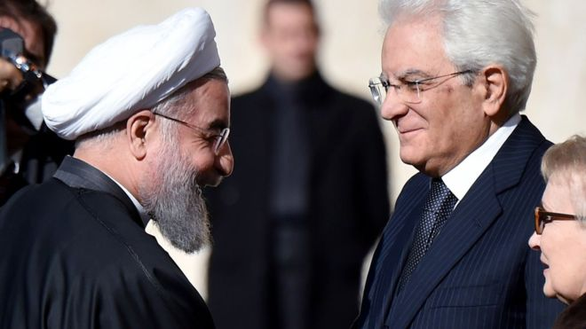 Iran's President Rouhani in Italy seeking business deals