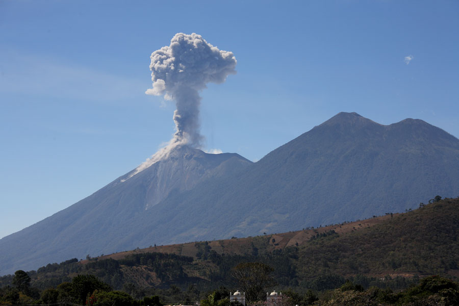 Volcanic eruption captured by drones in Guatemala