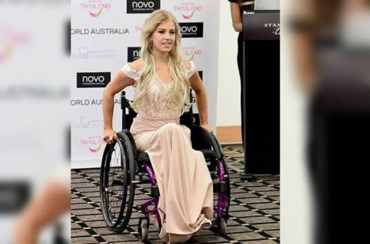 Woman becomes first contestant in a wheelchair to enter Miss World contest