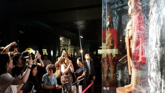The 'Golden Man' exhibit caused great interest in China